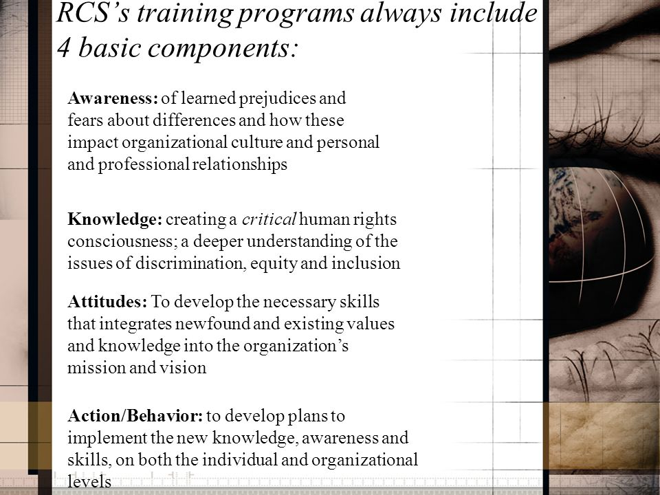 RCS's training programs always include 4 basic components: Awareness: of learned prejudices and fears about differences and how these impact organizat