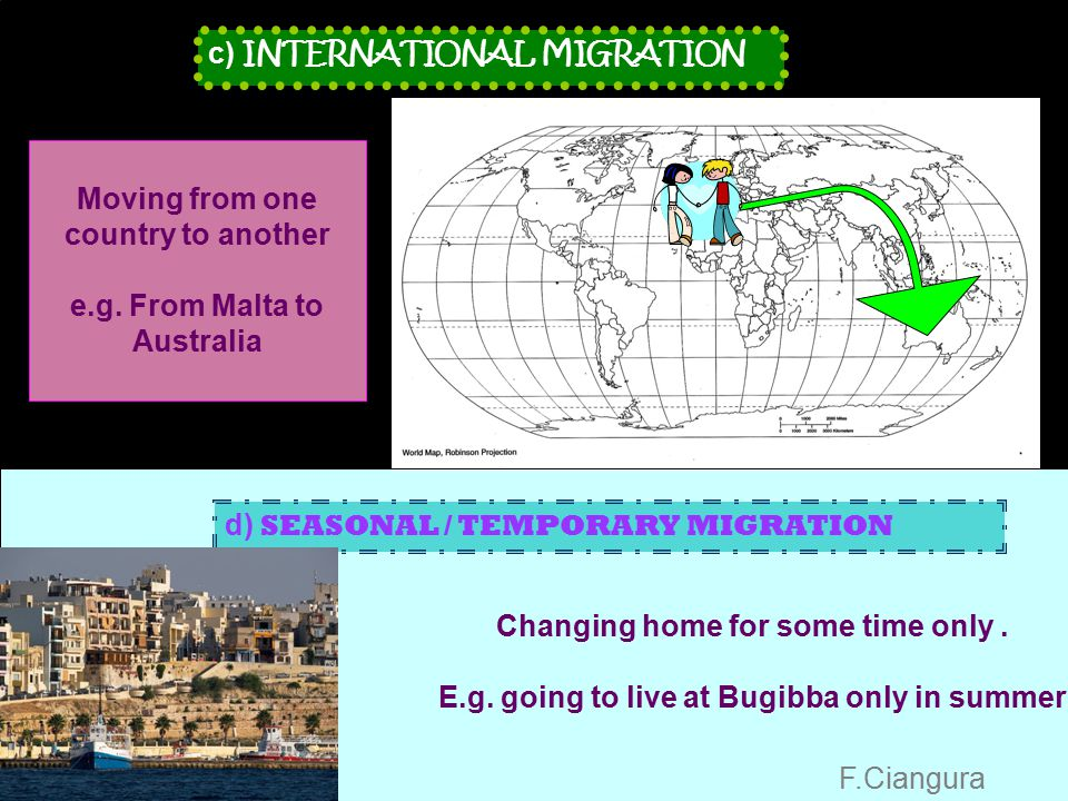 Migration Migration is when people move home a) RURAL–TO–URBAN MIGRATION b) INTERNAL MIGRATION Types of migration Leaving the countryside to go to wor