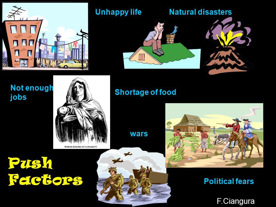 Why do people migrate? Push Factors Pull Factors F.Ciangura