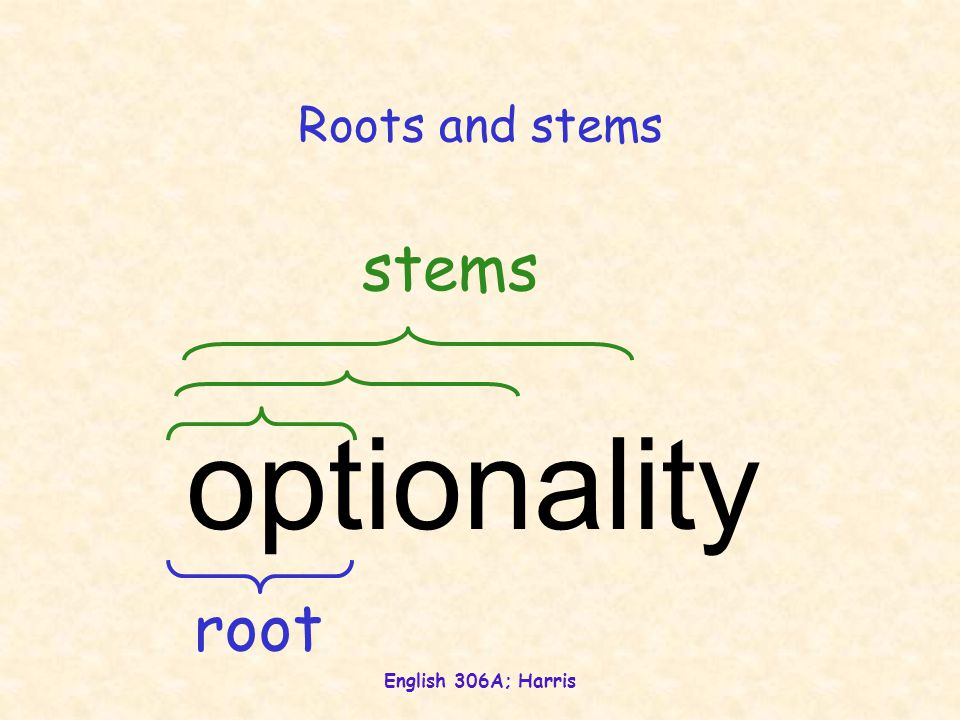 English 306A; Harris Roots and stems optionality root stems