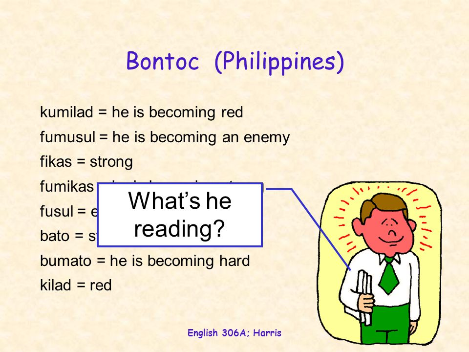 English 306A; Harris Bontoc (Philippines) kumilad = he is becoming red fumusul = he is becoming an enemy fikas = strong fumikas = he is becoming strong fusul = enemy bato = stone bumato = he is becoming hard kilad = red What's he reading