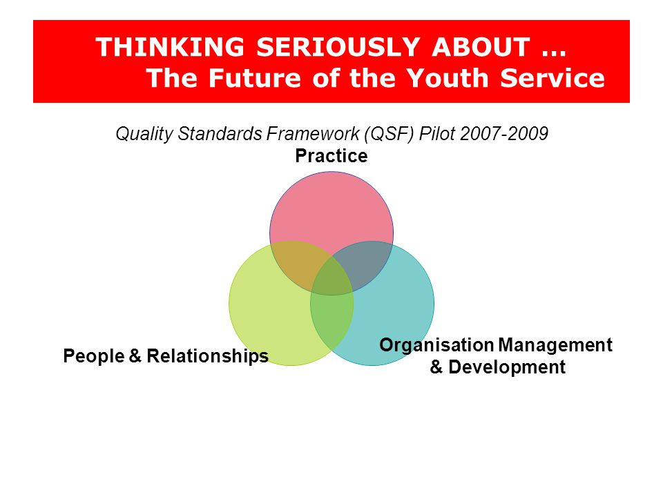 THINKING SERIOUSLY ABOUT … The Future of the Youth Service Quality Standards Framework (QSF) Pilot 2007-2009 Practice Organisation Management & Development People & Relationships