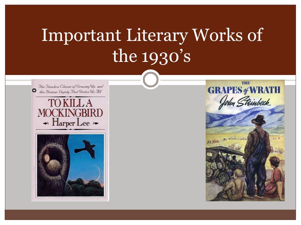 Important Literary Works of the 1930's