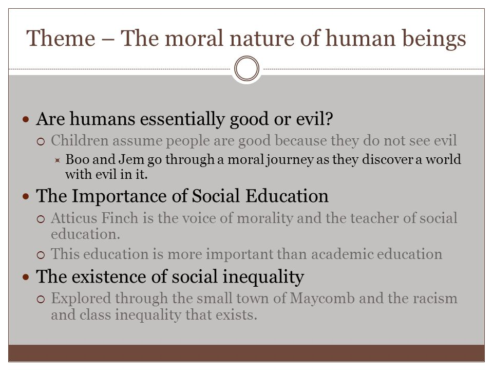 Theme – The moral nature of human beings Are humans essentially good or evil?  Children assume people are good because they do not see evil  Boo and