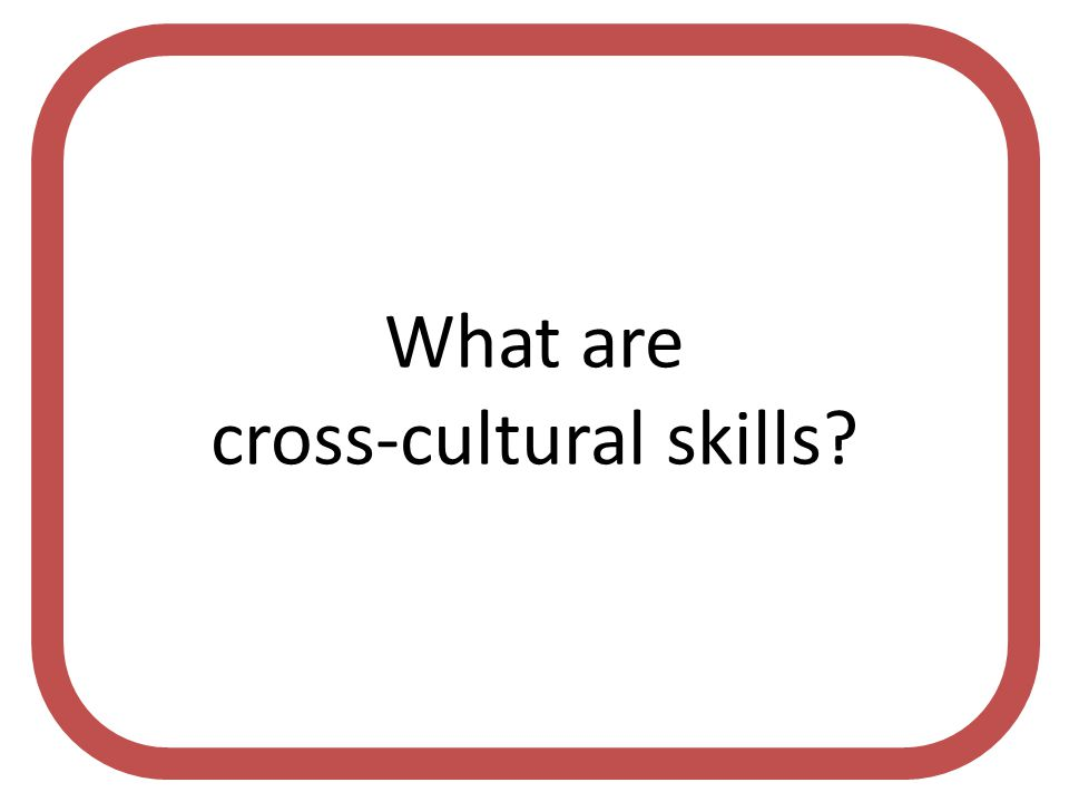 What are cross-cultural skills