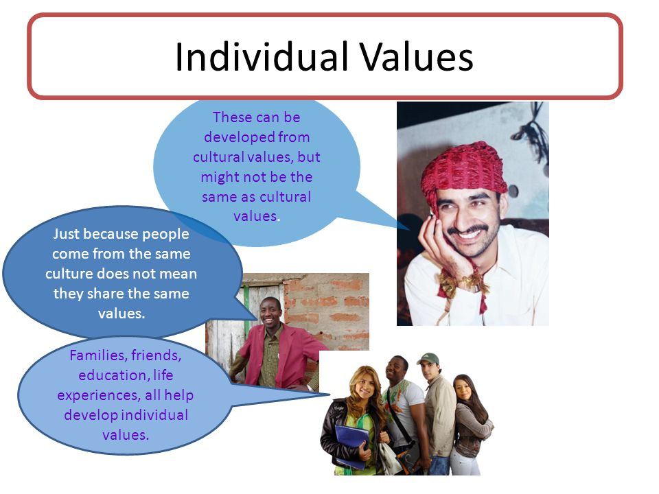 Just because people come from the same culture does not mean they share the same values.