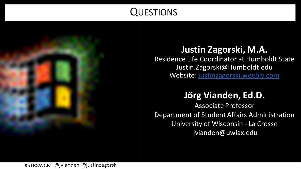 @justinzagorski@jvianden #STR8WCM Justin Zagorski, M.A.