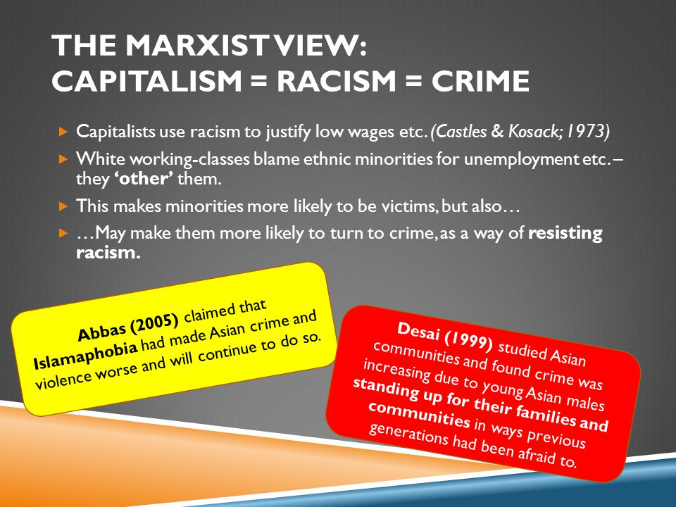 THE MARXIST VIEW: CAPITALISM = RACISM = CRIME  Capitalists use racism to justify low wages etc.