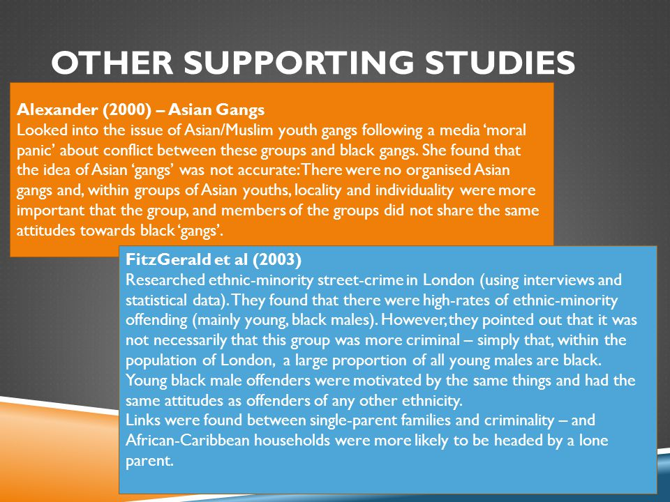 OTHER SUPPORTING STUDIES Alexander (2000) – Asian Gangs Looked into the issue of Asian/Muslim youth gangs following a media 'moral panic' about conflict between these groups and black gangs.