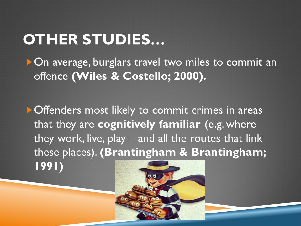 OTHER STUDIES …  On average, burglars travel two miles to commit an offence (Wiles & Costello; 2000).