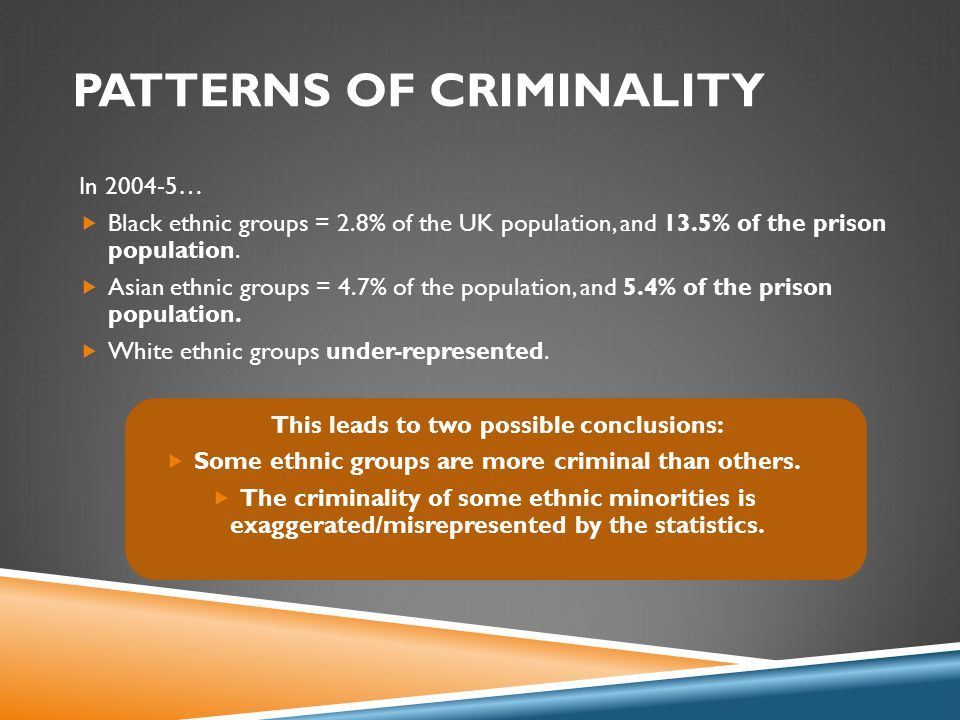 SMALL GROUPS: DISCUSS  Why might some ethnic groups be more criminal than others.