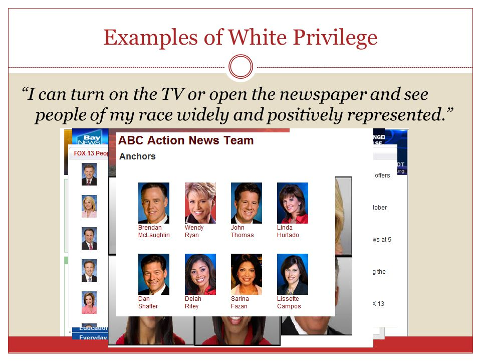 Examples of White Privilege I can turn on the TV or open the newspaper and see people of my race widely and positively represented.