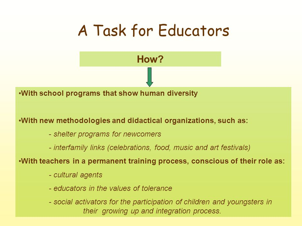 A Task for Educators With school programs that show human diversity With new methodologies and didactical organizations, such as: - shelter programs for newcomers - interfamily links (celebrations, food, music and art festivals) With teachers in a permanent training process, conscious of their role as: - cultural agents - educators in the values of tolerance - social activators for the participation of children and youngsters in their growing up and integration process.