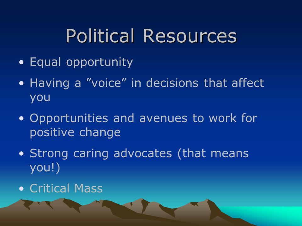 Political Resources Equal opportunity Having a voice in decisions that affect you Opportunities and avenues to work for positive change Strong caring advocates (that means you!) Critical Mass