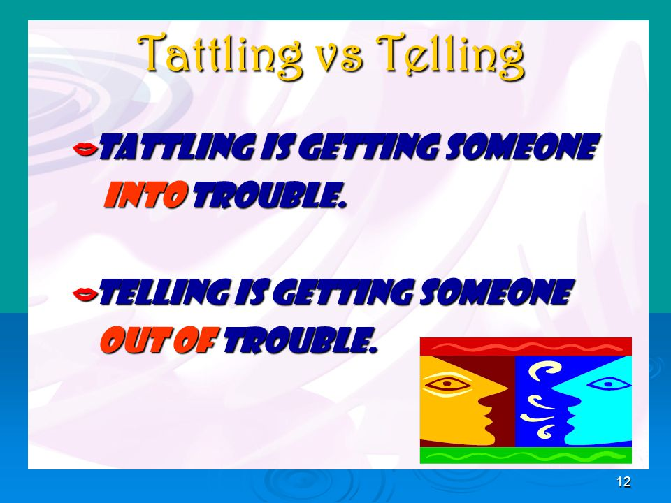 12 Tattling vs Telling TTTTattling is getting someone INTO trouble.