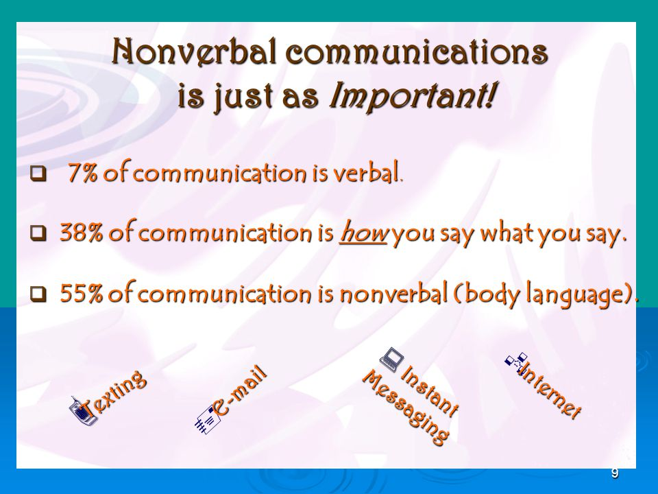 9 Nonverbal communications is just as Important. 7% of communication is verbal.
