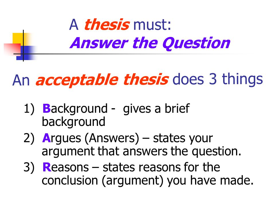 A thesis must: Answer the Question 1) Background - gives a brief background 2) Argues (Answers) – states your argument that answers the question.