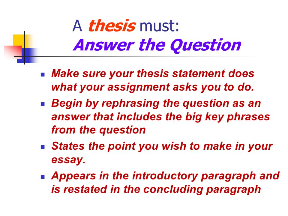 Make sure your thesis statement does what your assignment asks you to do.