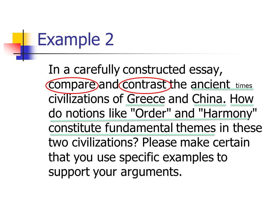 Example 2 In a carefully constructed essay, compare and contrast the ancient civilizations of Greece and China.
