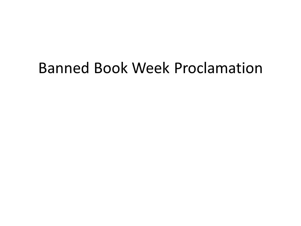 Banned Book Week Proclamation
