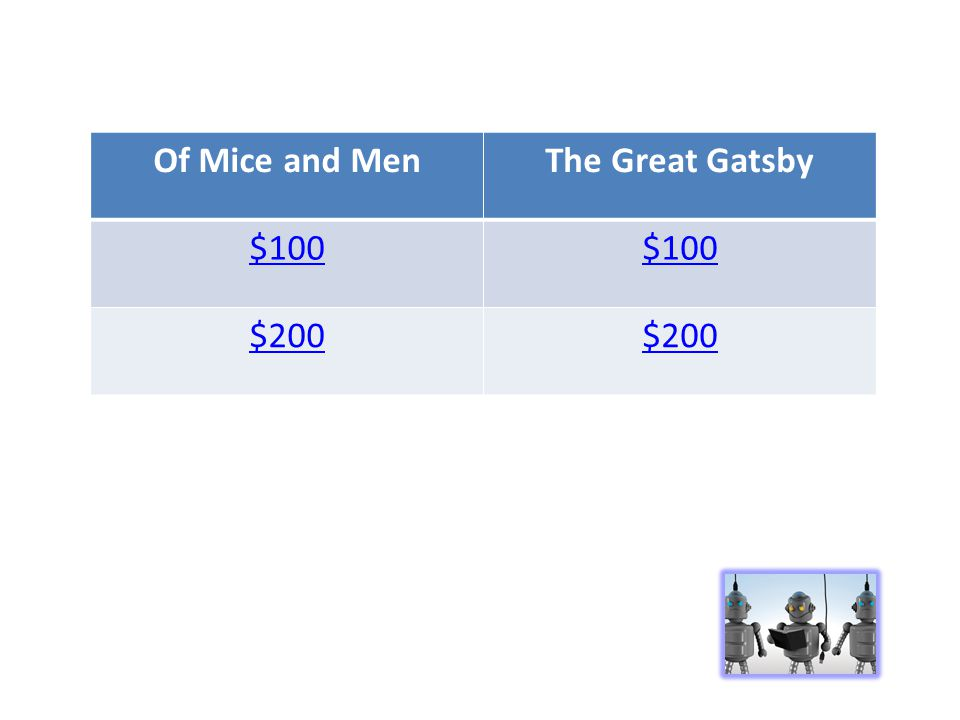 Of Mice and MenThe Great Gatsby $100 $200