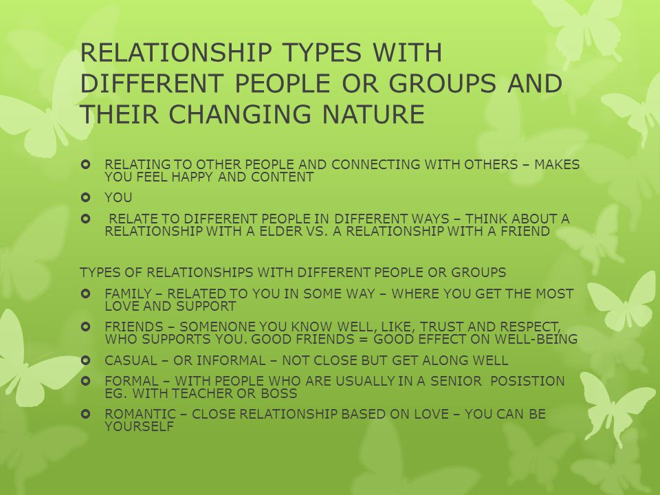 RELATIONSHIP TYPES WITH DIFFERENT PEOPLE OR GROUPS AND THEIR CHANGING NATURE  RELATING TO OTHER PEOPLE AND CONNECTING WITH OTHERS – MAKES YOU FEEL HAPPY AND CONTENT  YOU  RELATE TO DIFFERENT PEOPLE IN DIFFERENT WAYS – THINK ABOUT A RELATIONSHIP WITH A ELDER VS.