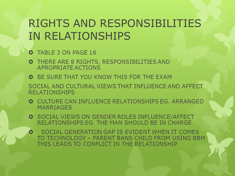RIGHTS AND RESPONSIBILITIES IN RELATIONSHIPS  TABLE 3 ON PAGE 16  THERE ARE 8 RIGHTS, RESPONSIBILITIES AND APROPRIATE ACTIONS  BE SURE THAT YOU KNOW THIS FOR THE EXAM SOCIAL AND CULTURAL VIEWS THAT INFLUENCE AND AFFECT RELATIONSHIPS  CULTURE CAN INFLUENCE RELATIONSHIPS EG.