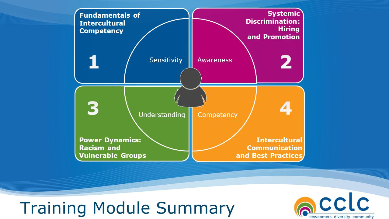 Training Module Summary SensitivityAwareness Fundamentals of Intercultural Competency Power Dynamics: Racism and Vulnerable Groups Intercultural Commu