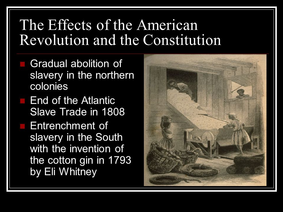 Slavery in the Colonies New England colonies-no large plantation systems; slaves lived in cities and small farms Chesapeake Bay colonies-large tobacco plantations; center of the domestic slave trade Carolinas and Georgia-large rice and cotton plantations