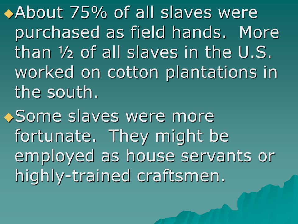  About 75% of all slaves were purchased as field hands. More than ½ of all slaves in the U.S. worked on cotton plantations in the south.  Some slave