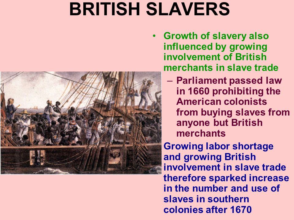 OTHER FACTORS Slavery only pays if slaves are kept working all year long –Since they have to be fed, clothed, and housed all year –Cannot be laid off in slow seasons Tobacco had long growing season and required intensive labor over most of the year –Kept slaves working all year long and gave slave owners excellent return on their investment