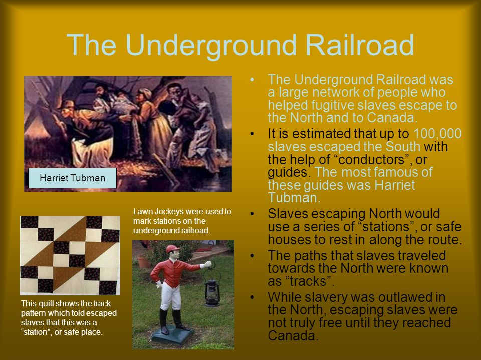 The Underground Railroad The Underground Railroad was a large network of people who helped fugitive slaves escape to the North and to Canada. It is es