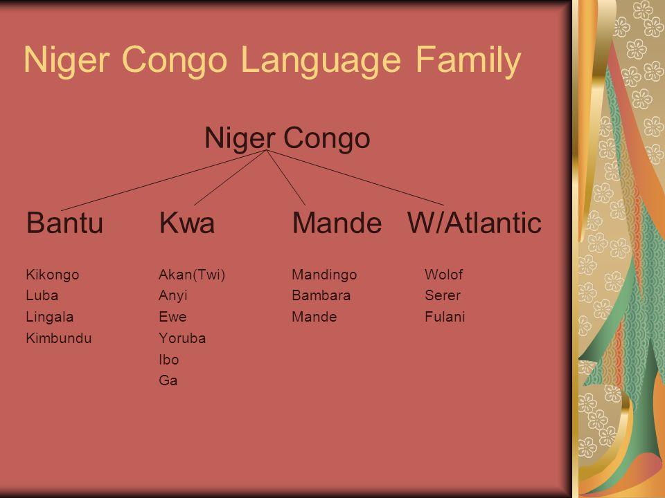 Niger Congo Language Family Niger Congo BantuKwaMande W/Atlantic KikongoAkan(Twi) MandingoWolof LubaAnyiBambaraSerer LingalaEweMandeFulani KimbunduYoruba Ibo Ga