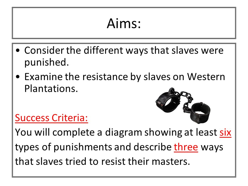 Why were slaves punished harshly if they disobeyed their masters.