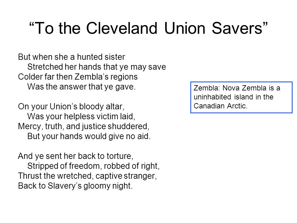 """To the Cleveland Union Savers"" But when she a hunted sister Stretched her hands that ye may save Colder far then Zembla's regions Was the answer that"