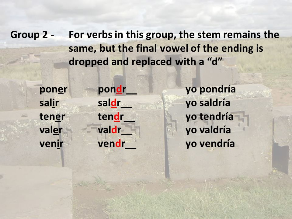 "Group 2 -For verbs in this group, the stem remains the same, but the final vowel of the ending is dropped and replaced with a ""d"" ponerpondr__yo pondr"