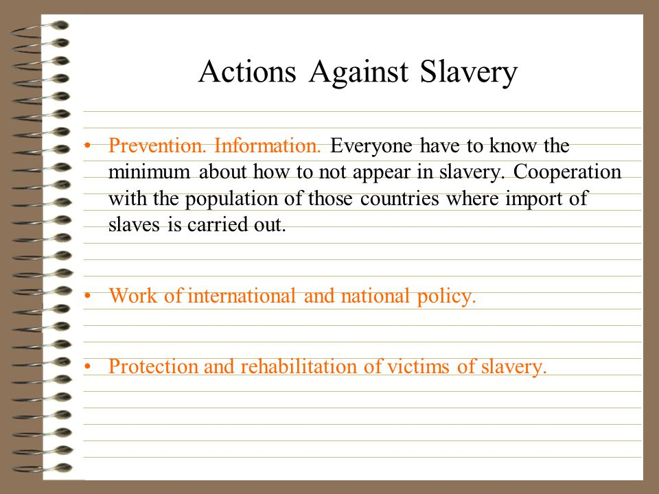 Actions Against Slavery Prevention.Information.