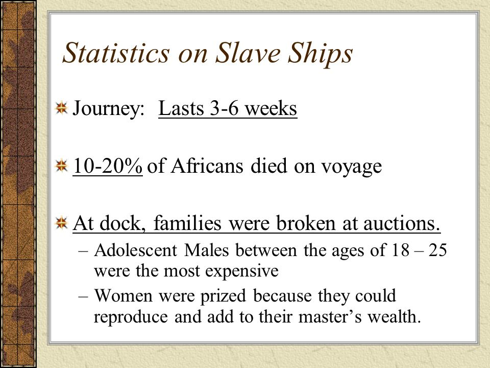 Statistics on Slave Ships Journey: Lasts 3-6 weeks 10-20% of Africans died on voyage At dock, families were broken at auctions.