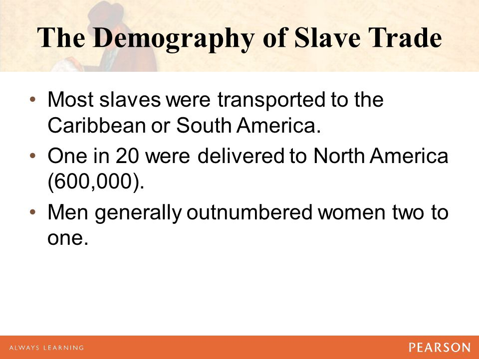 The Demography of Slave Trade Most slaves were transported to the Caribbean or South America. One in 20 were delivered to North America (600,000). Men