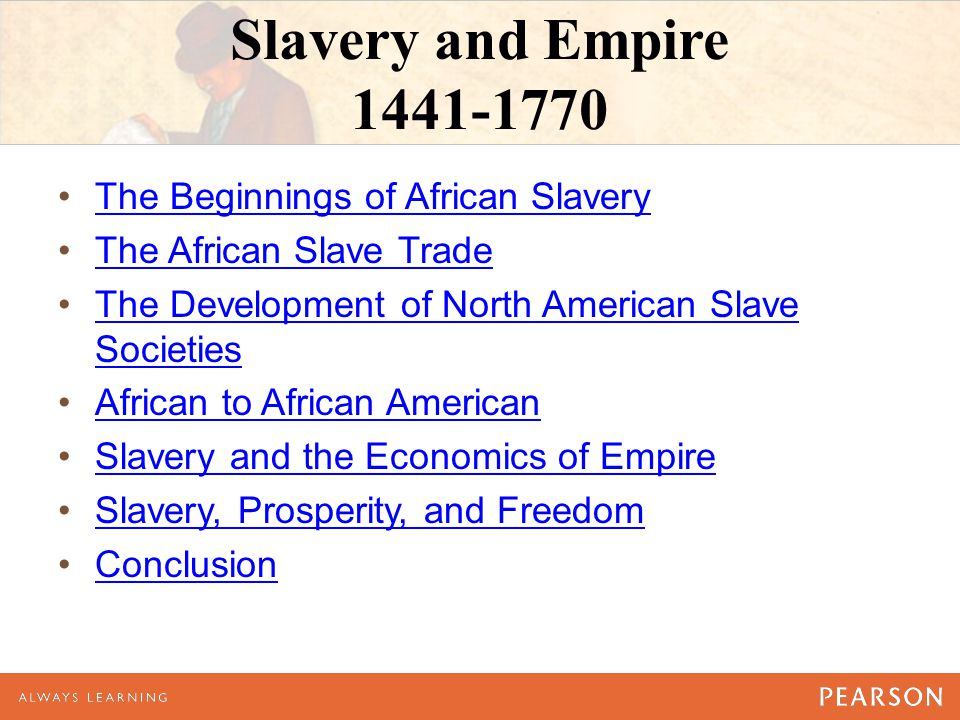 Slavery and Empire 1441-1770 The Beginnings of African Slavery The African Slave Trade The Development of North American Slave SocietiesThe Developmen
