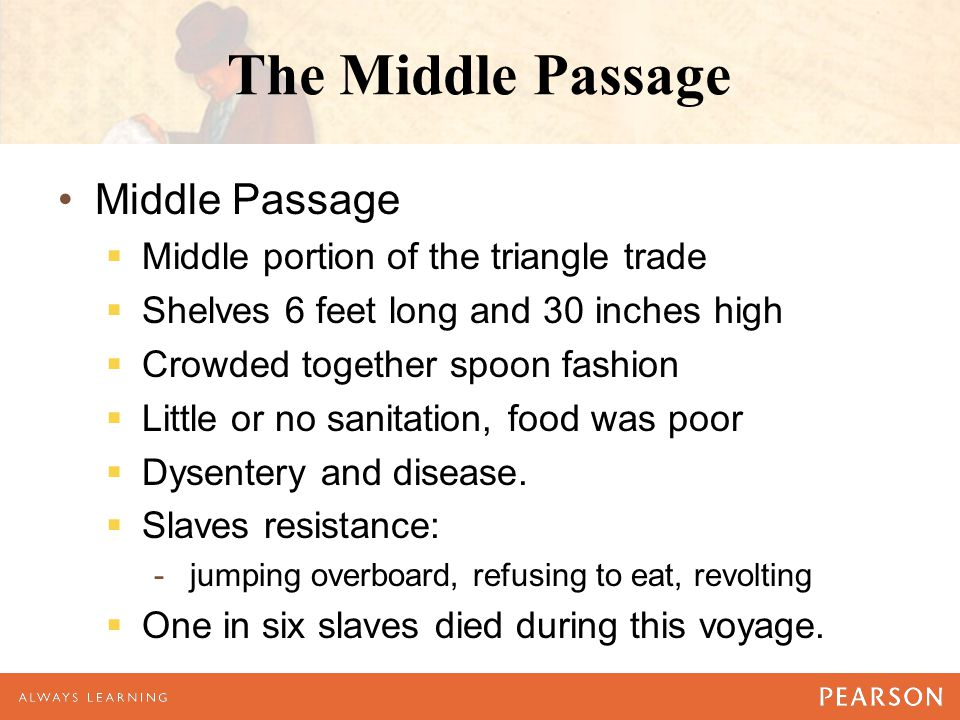 The Middle Passage Middle Passage  Middle portion of the triangle trade  Shelves 6 feet long and 30 inches high  Crowded together spoon fashion  Little or no sanitation, food was poor  Dysentery and disease.