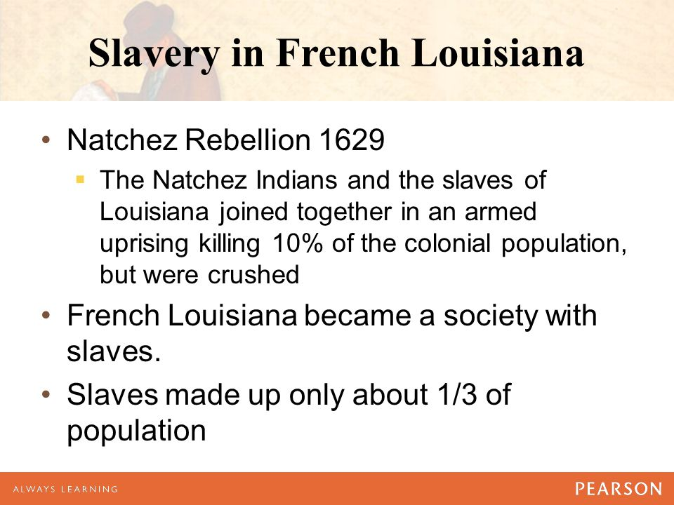 Slavery in French Louisiana Natchez Rebellion 1629  The Natchez Indians and the slaves of Louisiana joined together in an armed uprising killing 10%