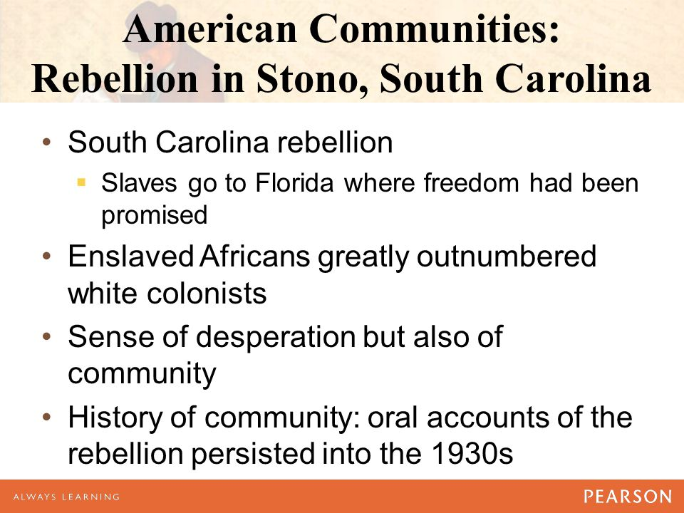 American Communities: Rebellion in Stono, South Carolina South Carolina rebellion  Slaves go to Florida where freedom had been promised Enslaved Africans greatly outnumbered white colonists Sense of desperation but also of community History of community: oral accounts of the rebellion persisted into the 1930s