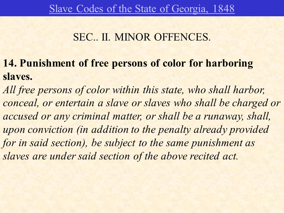 14. Punishment of free persons of color for harboring slaves.