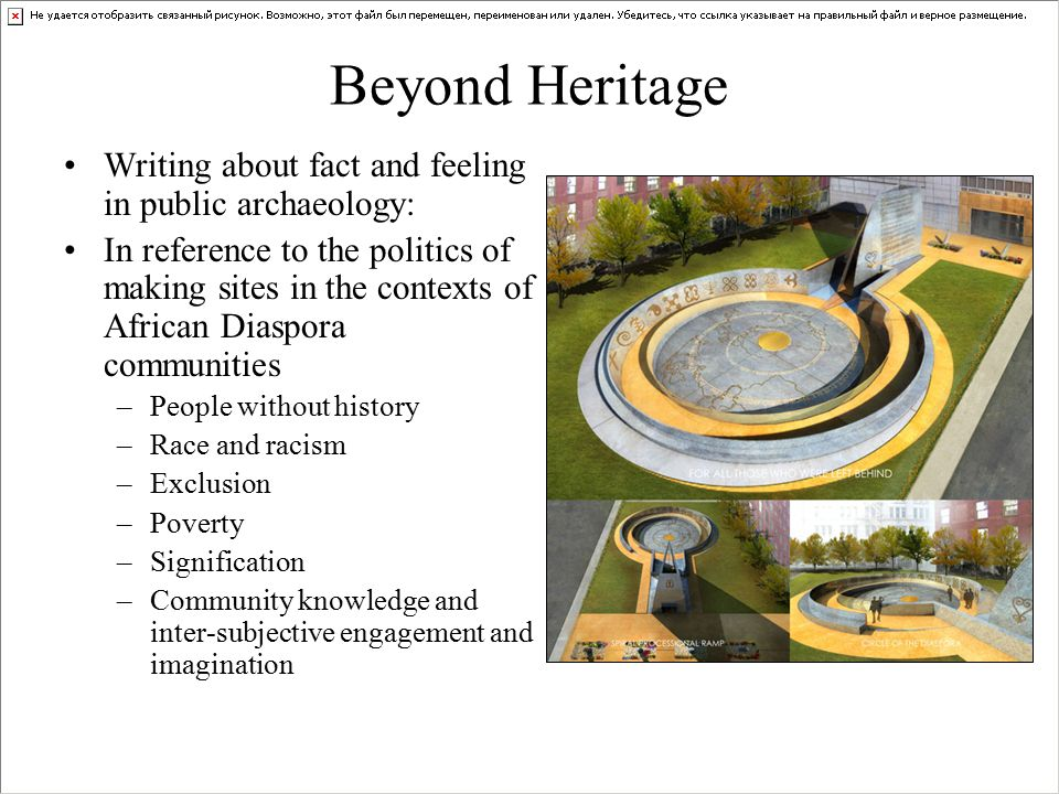 Beyond Heritage Writing about fact and feeling in public archaeology: In reference to the politics of making sites in the contexts of African Diaspora communities –People without history –Race and racism –Exclusion –Poverty –Signification –Community knowledge and inter-subjective engagement and imagination
