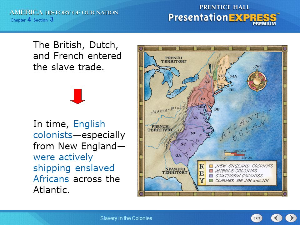 Chapter 4 Section 3 Slavery in the Colonies The British, Dutch, and French entered the slave trade. In time, English colonists—especially from New Eng