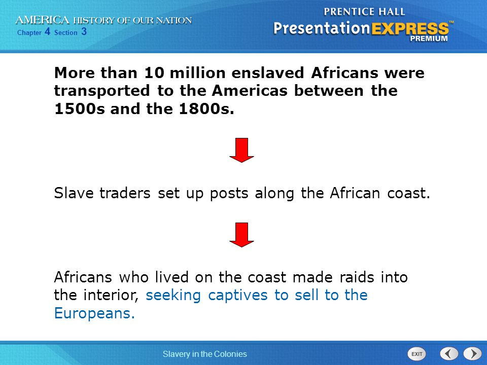 Chapter 4 Section 3 Slavery in the Colonies Slave traders set up posts along the African coast. Africans who lived on the coast made raids into the in