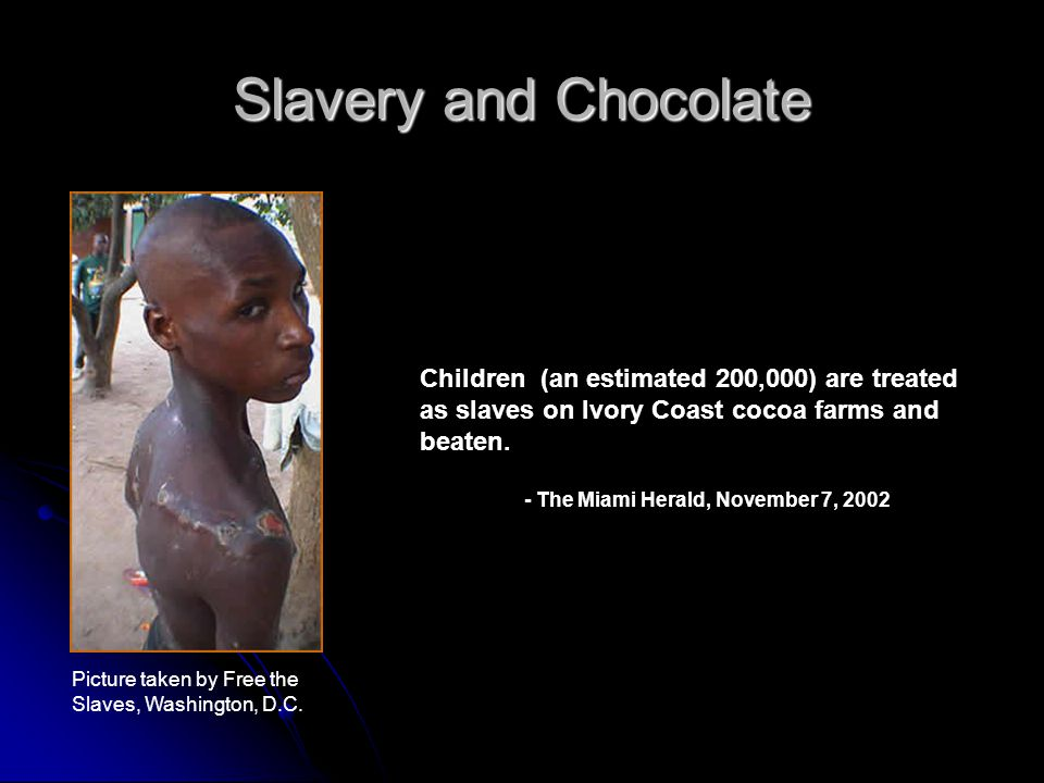 Slavery and Chocolate Children (an estimated 200,000) are treated as slaves on Ivory Coast cocoa farms and beaten.