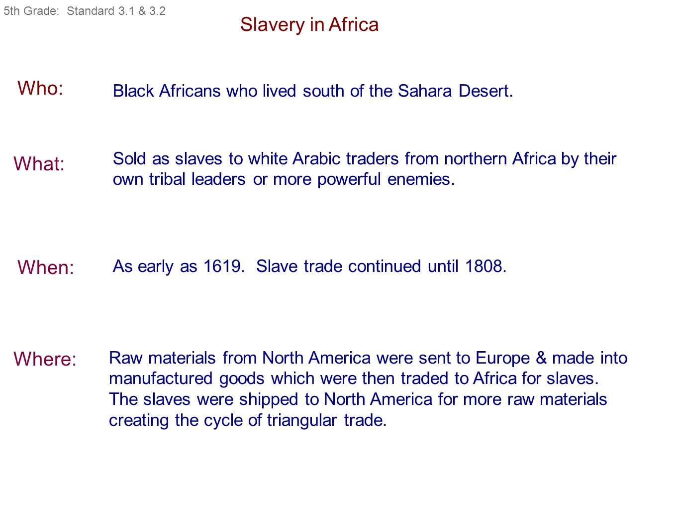 Slavery in Africa Who: Black Africans who lived south of the Sahara Desert. What: When: Where: Sold as slaves to white Arabic traders from northern Af