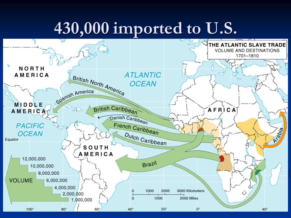 Slave Regions in Africa Slave trade moved people along 3000 miles of Africa's west coast to the New World Slave trade moved people along 3000 miles of Africa's west coast to the New World Many slaves were brought from inland areas of Africa Many slaves were brought from inland areas of Africa